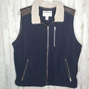 Orvis Fleece Vest Navy Blue Sherpa Collar Large